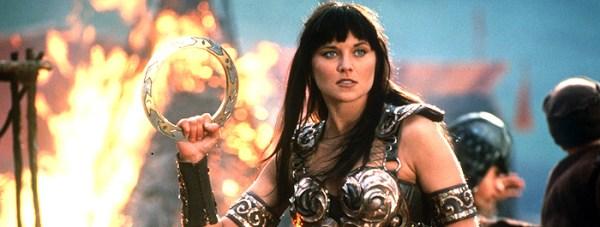 Lucy Lawless em seu papel de Xena