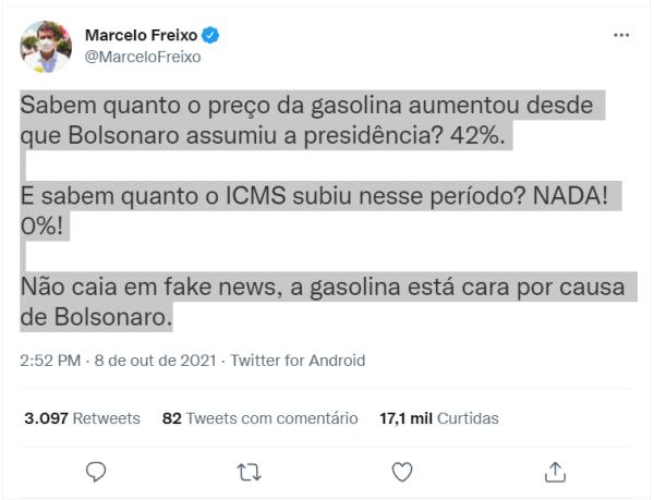 Gasolina sobre, Bolsonaro culpado