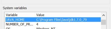 edit the JAVA_HOME system variable