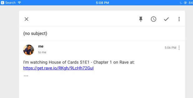 rave in email