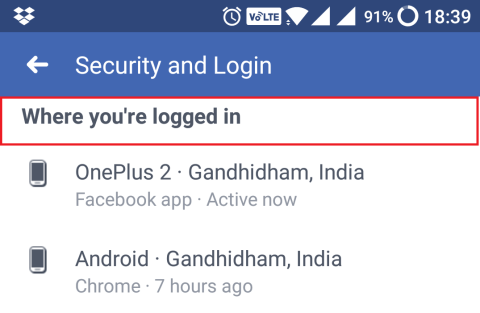 facebook logged in devices