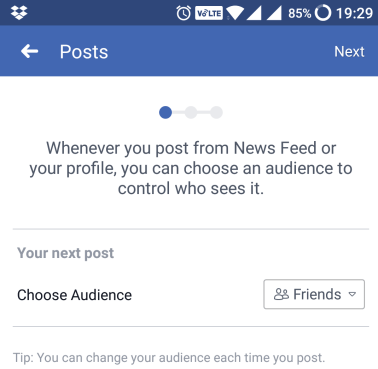 facebook post sharing option