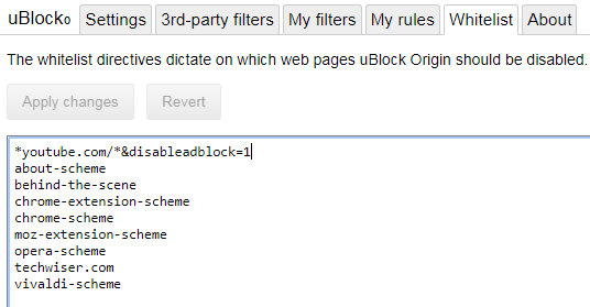 ublock origin whitelist