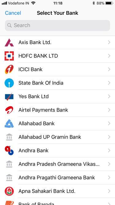 whatsapp upi bank