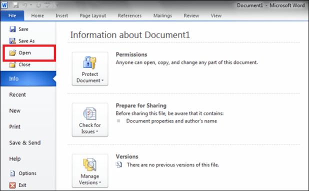 microsoft word open pdf
