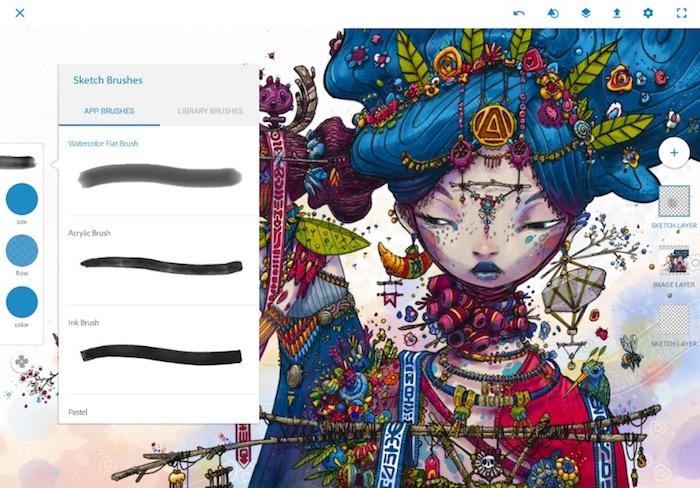 Adobe Photoshop Sketch app screeenshot