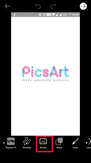 picsart border tool option