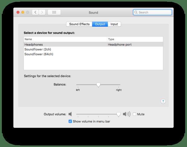Sounds setting Mac