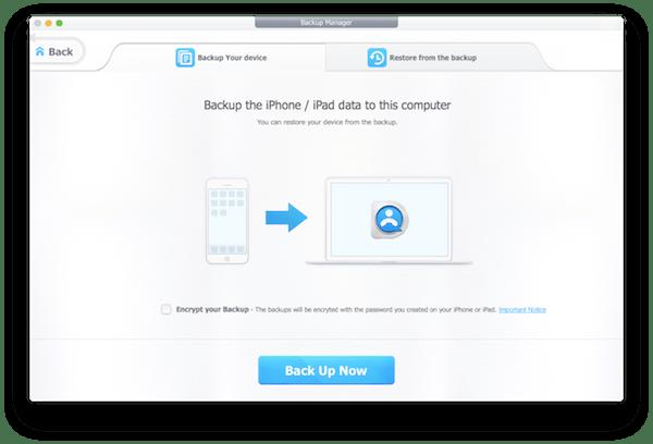 backup & restore tab