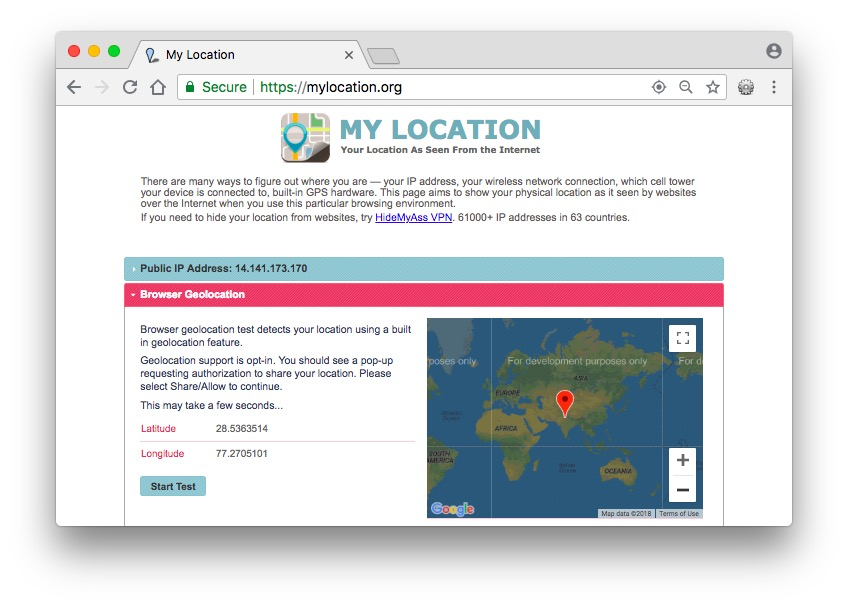 change browser location chrome