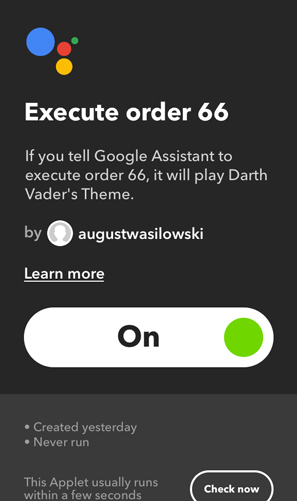 IFTTT Applets for Google Home- execute order 66