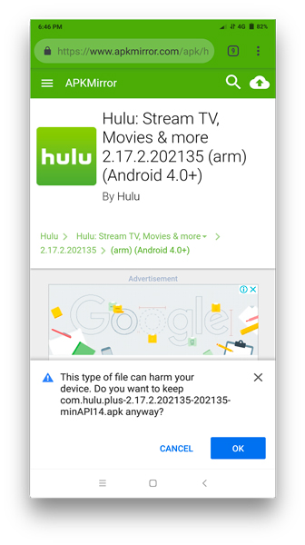 Hulu app from APK mirror