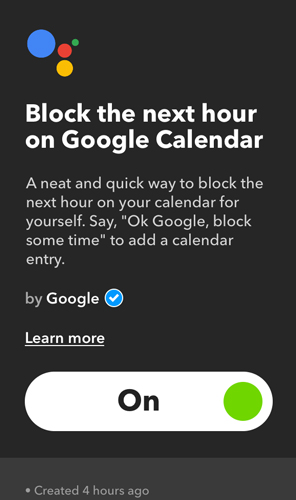 IFTTT Applets for Google Home- block next hour