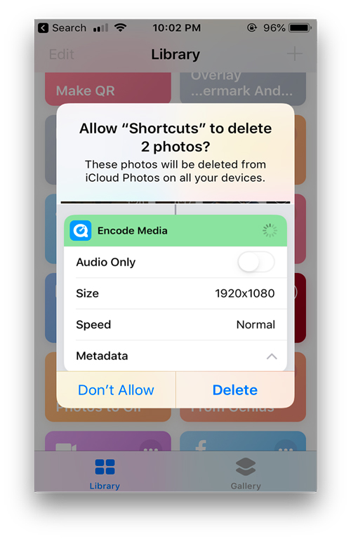 Useful shortcuts for apple's shortcut app- delete screenshots