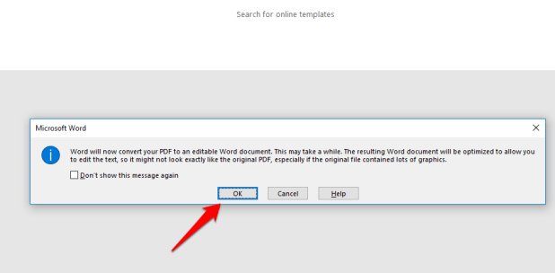 PDF to word popup message