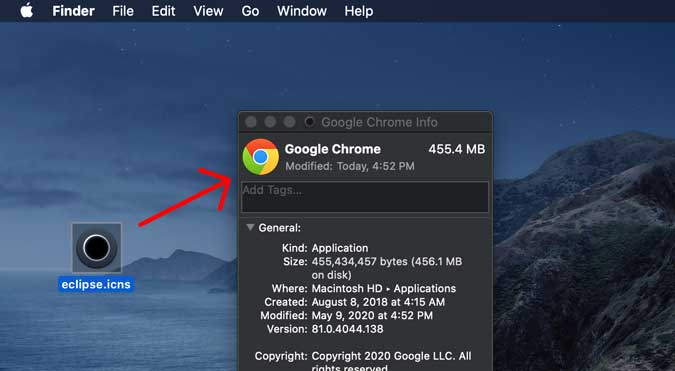 drag the icons to chrome to change its icon