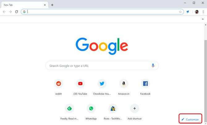 custom background on Google Chrome- customize button