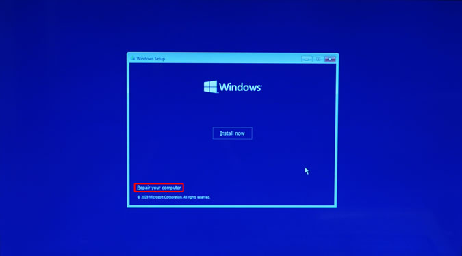 repair you computer option on the windows 10 installation screen