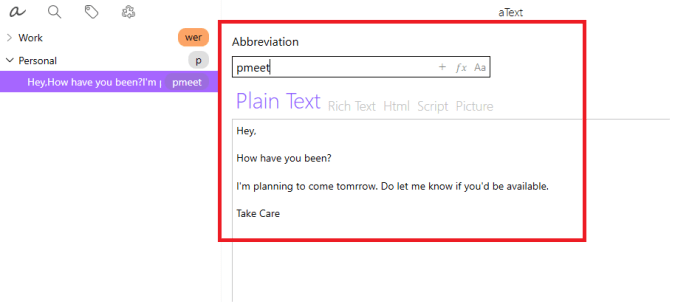 atext Abbrevation