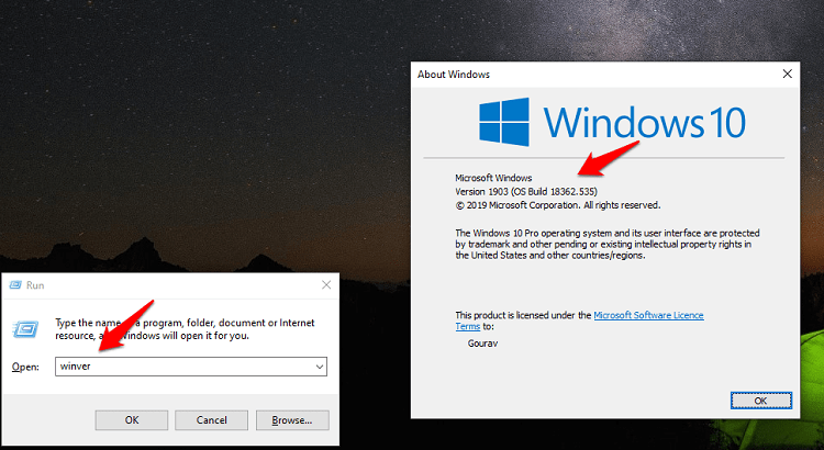 winver command to find windows version OS build details