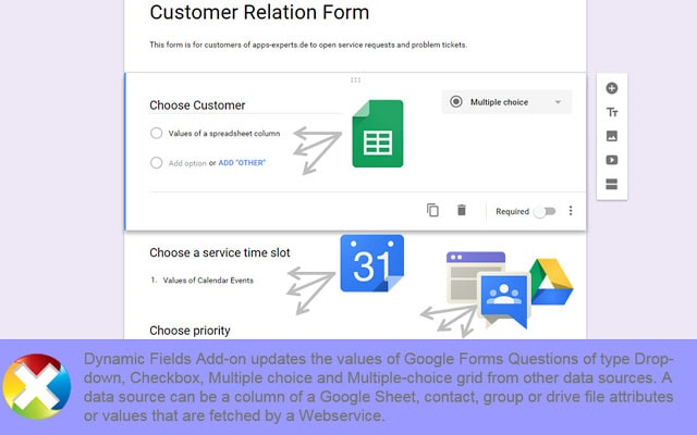 dynamic fields pulling data from other google apps