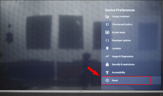 reset android tv through android tv settings menu