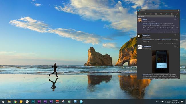 tweetz app showing a pop up window on the PC