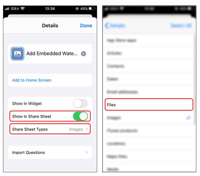 disable or limit the access of a shortcut in the share sheet