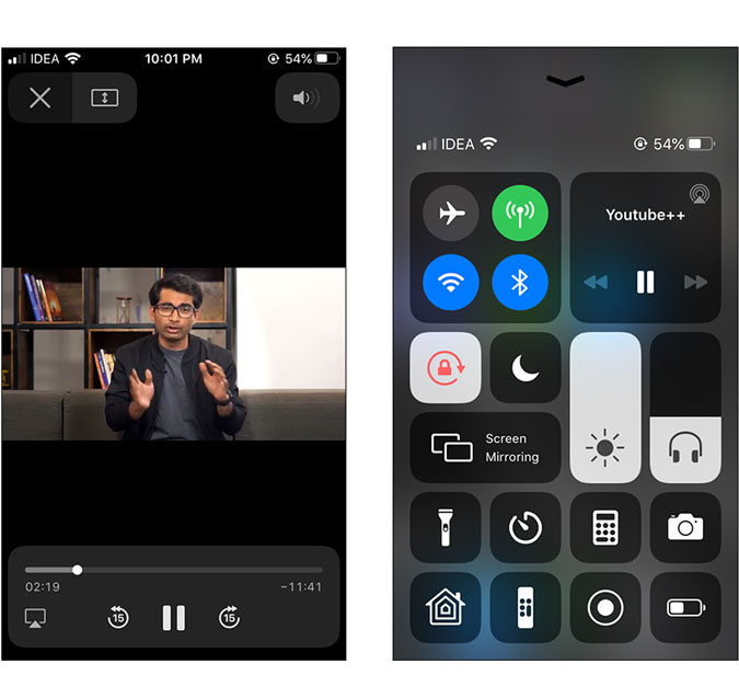 play the video from the control center