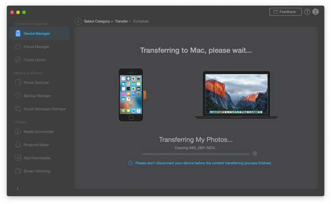 transferring data from iphone to mac