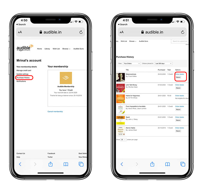 Purchase history and select a book and tap return