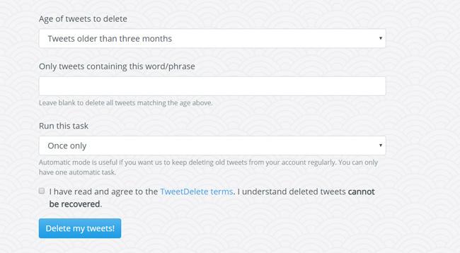 Deleting Tweets using TweetDelete
