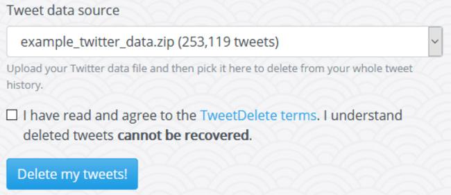 Deleting Tweets using TweetDelete Premium