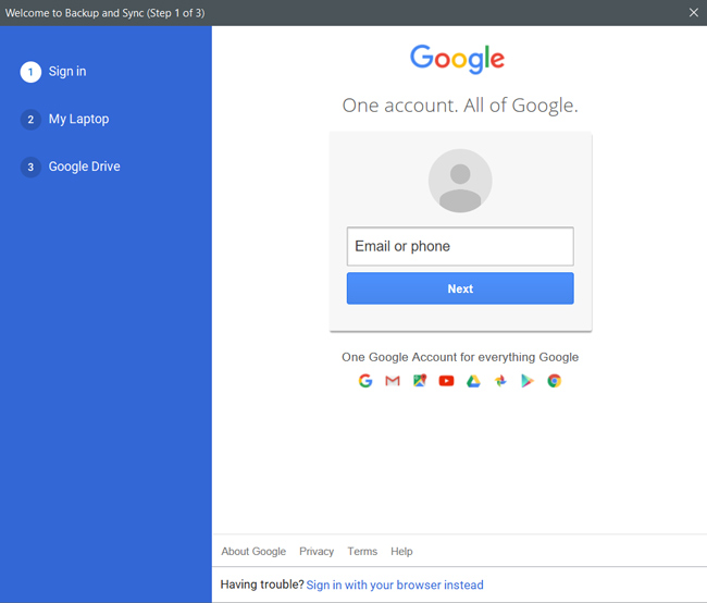 Signing in to the Google's Backup and Sync app