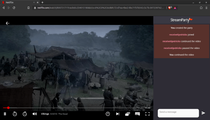 chat-window-streamparty-netflix - Watch Netflix Together on Desktop
