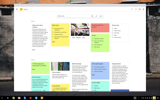 google keep interface