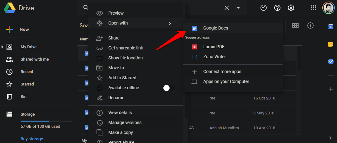 open microsoft files in drive with google apps