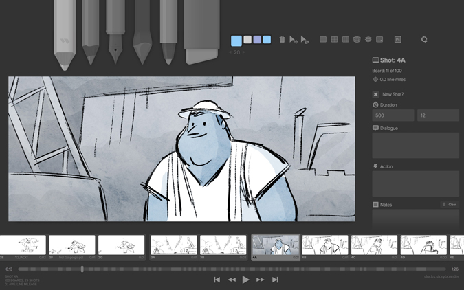 drawing on the Storyboarder app