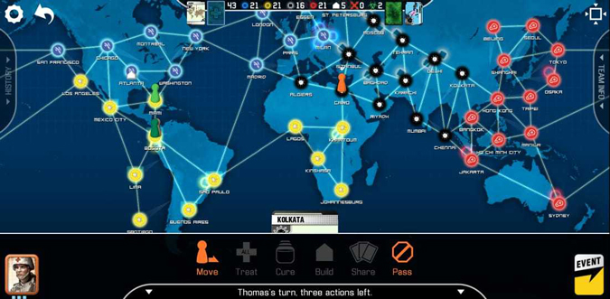 Overview look in Pandemic Board Game