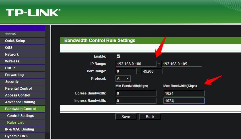 limiting internet speed using ip ranges