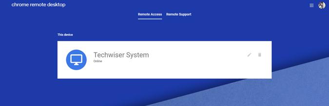 Host device ready for Chrome remote desktop