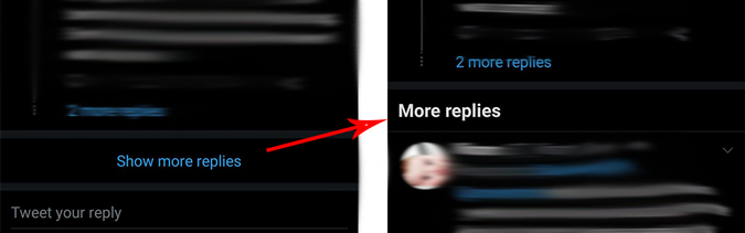 image showing show more replies button