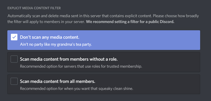 changing media content filter on discord server