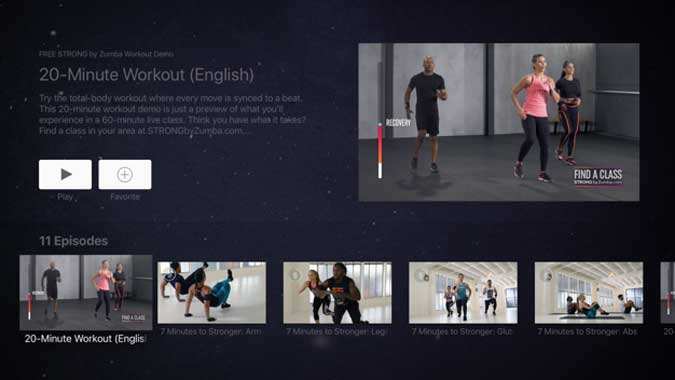 strong by zumba with multiple video content on screen