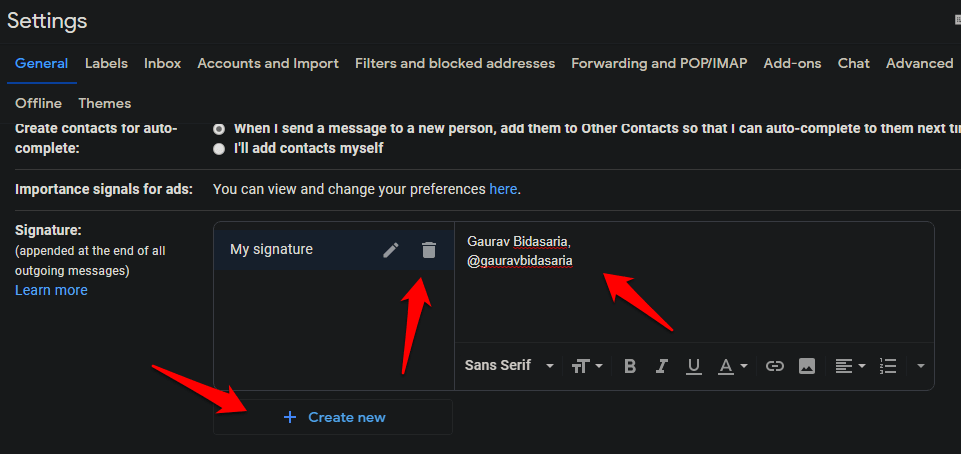 create, edit, manage signatures in gmail