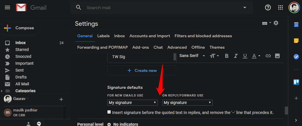 choose default gmail signature
