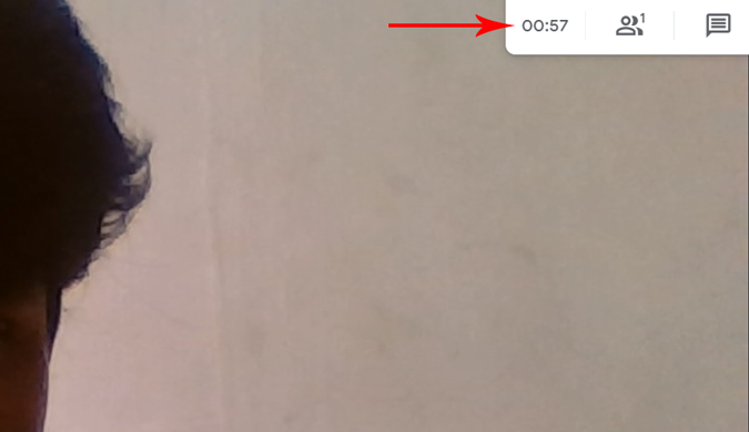 Timer running at the top of the video in Google meet