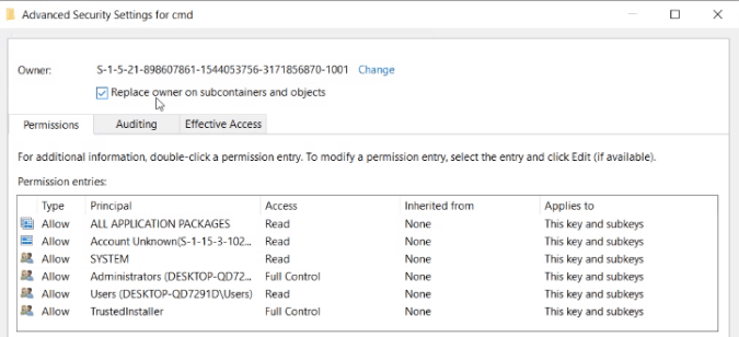 replace-owner-on-subcontainers-and-objects - Windows Registry Hacks