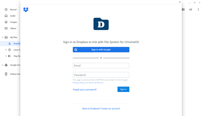 Signing in Dropbox from Chromebook
