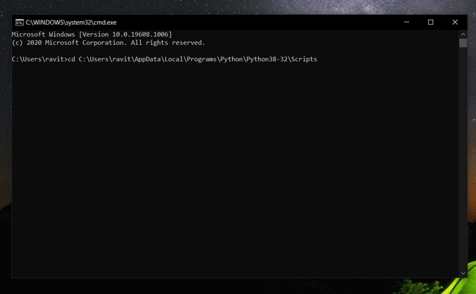 Pasting Python Location in command prompt